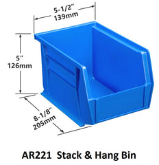 AR221 Pack of 12 Stack & Hang Parts Bins|AR221 Caja de 12 Recipientes para piezas, para apilar o colgar