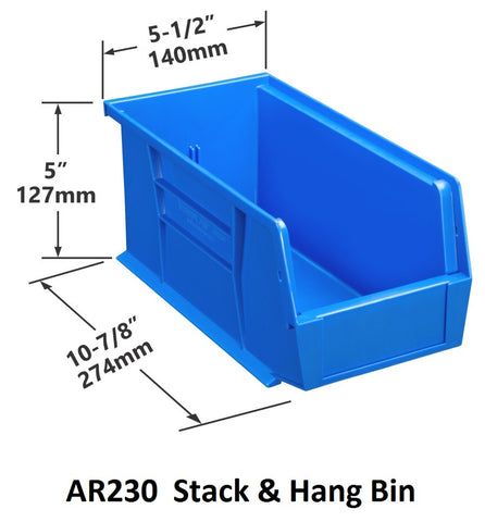 AR230 Pack of 12 Stack & Hang Parts Bins|AR230 Caja de 12 Recipientes para piezas, para apilar o colgar