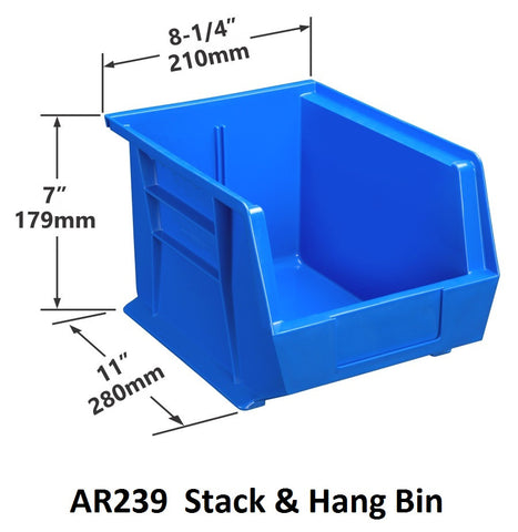 AR239 Pack of 6 Stack & Hang Parts Bins|AR239 Caja de 6 Recipientes para piezas, para apilar o colgar