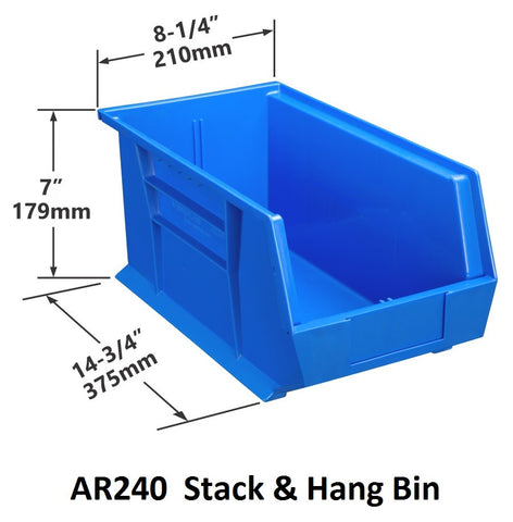 AR240 Pack of 6 Stack & Hang Parts Bins|AR240 Caja de 6 Recipientes para piezas, para apilar o colgar