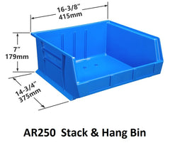AR250 Pack of 6 Stack & Hang Parts Bins|AR250 Caja de 6 Recipientes para piezas, para apilar o colgar