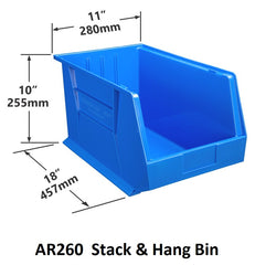 AR260 Pack of 4 Stack & Hang Parts Bins|AR260 Caja de 4 Recipientes para piezas, para apilar o colgar