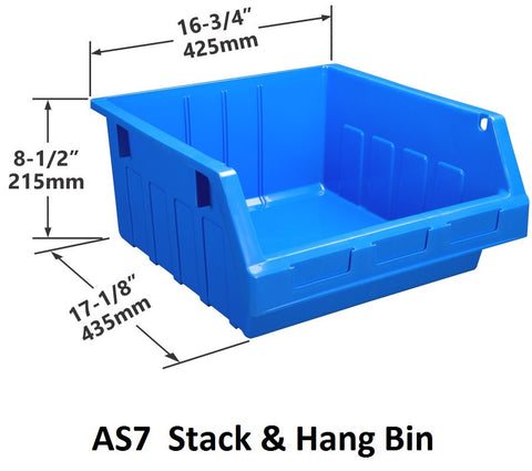 AS7 Pack of 6 Stack & Hang Parts Bins|AS7 Caja de 6 Recipientes para piezas, para apilar o colgar