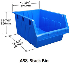 AS8 Pack of 6 Stack & Hang Parts Bins|AS8 Caja de 6 Recipientes para piezas, para apilar o colgar
