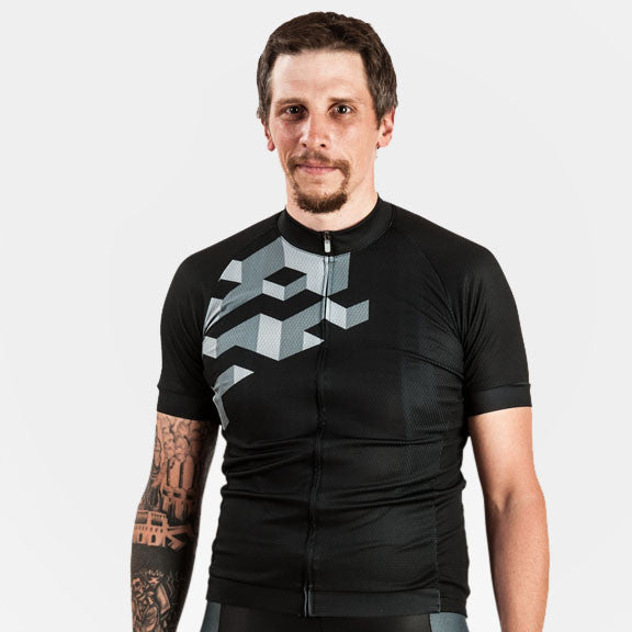 Cubes 8-Bit Cycling Jersey - Black -  Men's XL Only