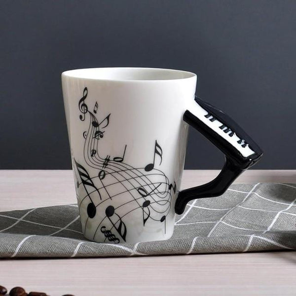 Guitar Piano Shape Handle Ceramic Musical Instrument Note Style Coffee First Joe