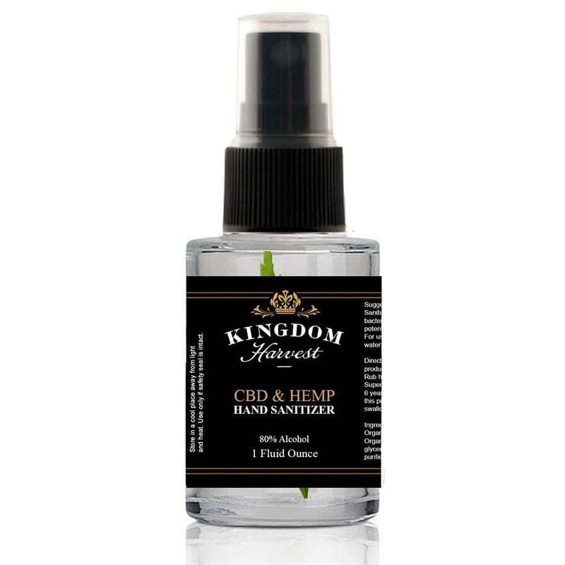A spray bottle of Kingdom Harvest CBD and Hemp hand sanitizer. 1 fluid ounce, 80% alcohol.