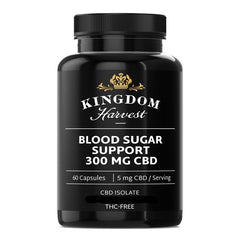 A bottle of Kingdom Harvest blood sugar support supplements. 60 capsules. 300 mg of CBD, THC-free.
