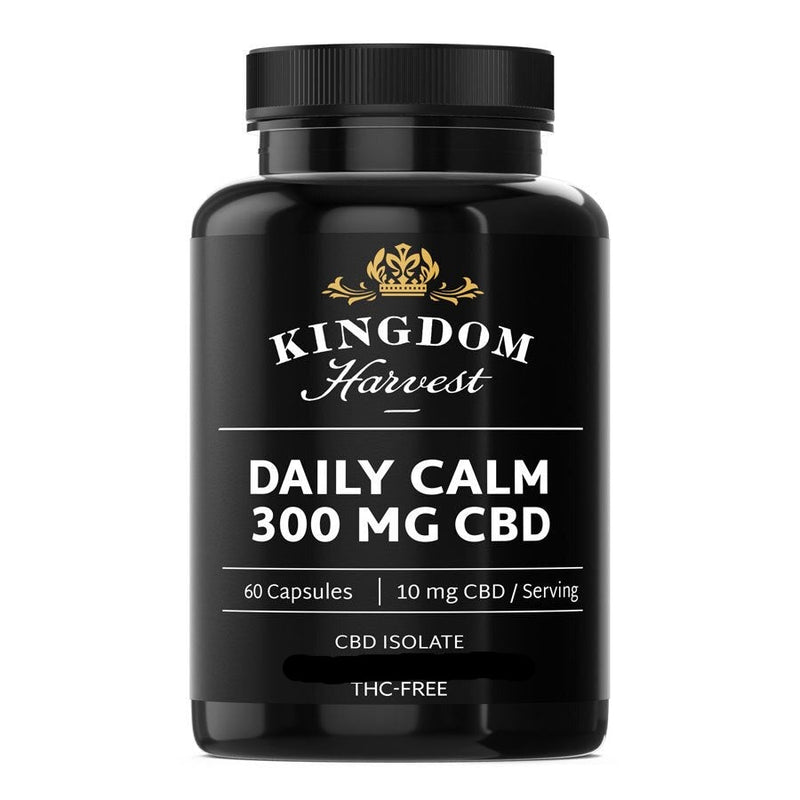 A bottle of Kingdom Harvest daily calm supplements. 60 capsules. 300 mg of CBD, THC-free.