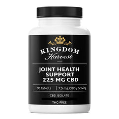 A bottle of Kingdom Harvest joint health support supplements. 90 tablets. 225 mg of CBD, THC-free.