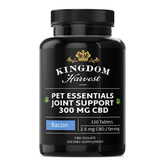 A bottle of 120 bacon flavored CBD pet essential joint support supplements. 2.5 mg of CBD per serving. THC-free.