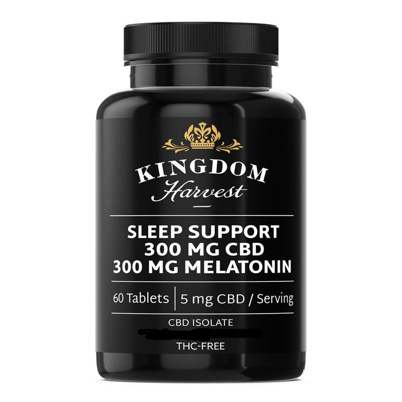 A bottle of Kingdom Harvest sleep support supplements. 60 tablets. 300 mg of CBD, 300 mg of melatonin, THC-free.