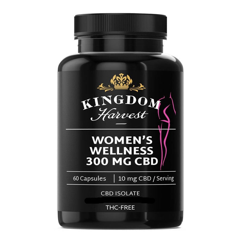 A bottle of Kingdom Harvest women's wellness supplements. 60 capsules. 300 mg of CBD, THC-free.