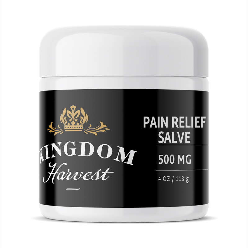 A 4 ounce jar of Kingdom Harvest warming pain relief salve. 500 mg of CBD.