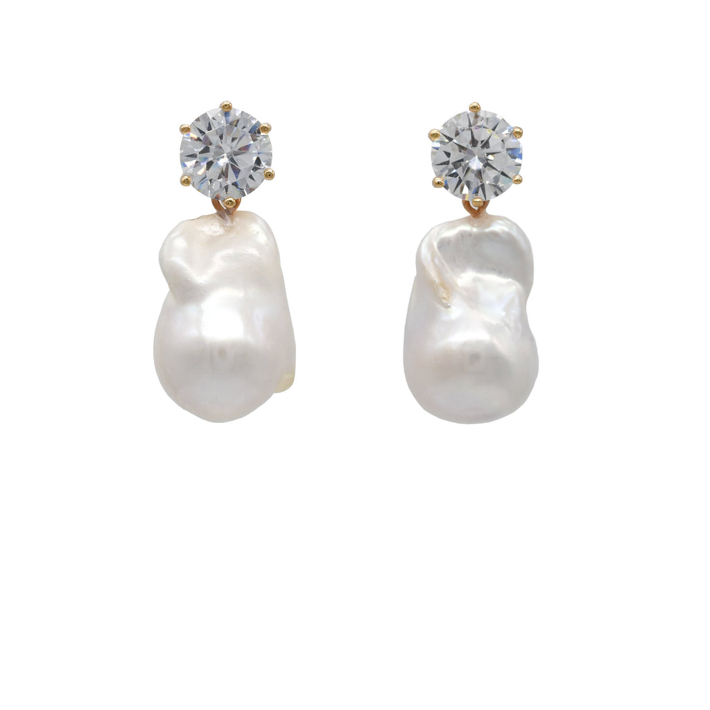 Sofia Baroque Pearl Earrings - Crystal