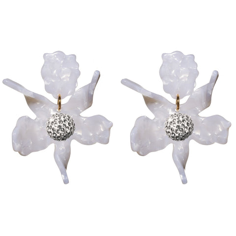 LELE SADOUGHI White Crystal Lily Earrings