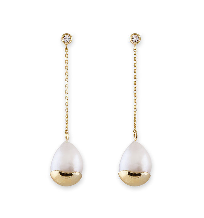 Gold Baroque Pearl Chain Drop Earrings