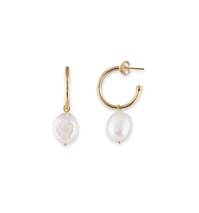 Gold Baroque Pearl Hoop Earrings - Pierre Winter Fine Jewels