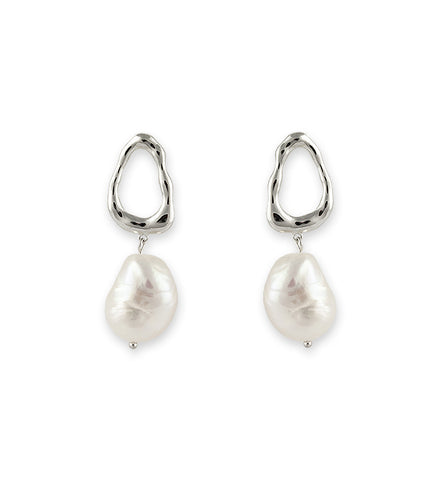 Agatha Pearl Hoop Earrings