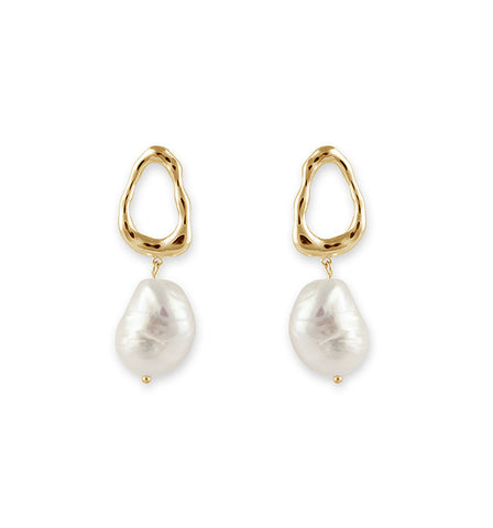 Gold Baroque Multi Pearl Hoop Earrings