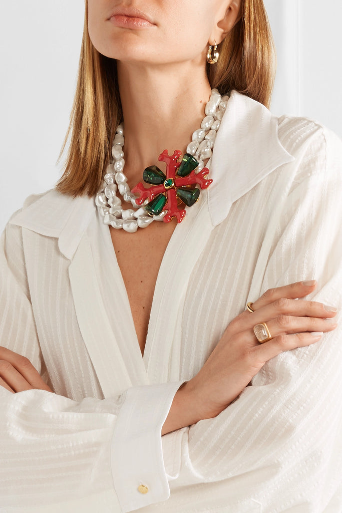 Layered Coral & Pearl Necklace