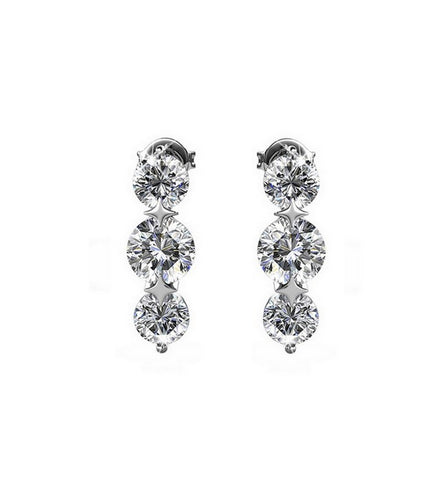 Classic Long Clear Drop Earrings