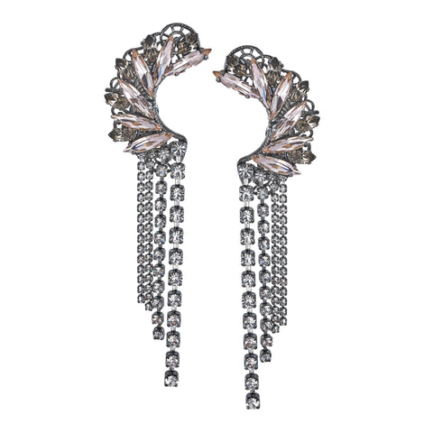 Embroidered Silver Link Drop Earrings