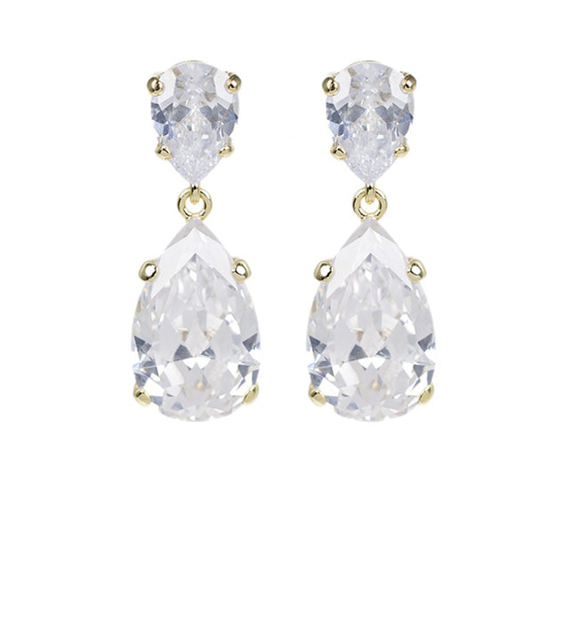Gold Classic Clear Drop Earrings - Pierre Winter Fine Jewels