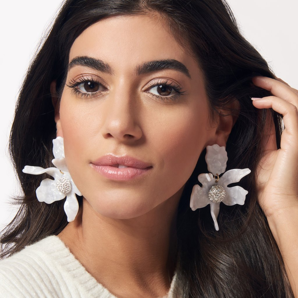 White Crystal Lily Earrings