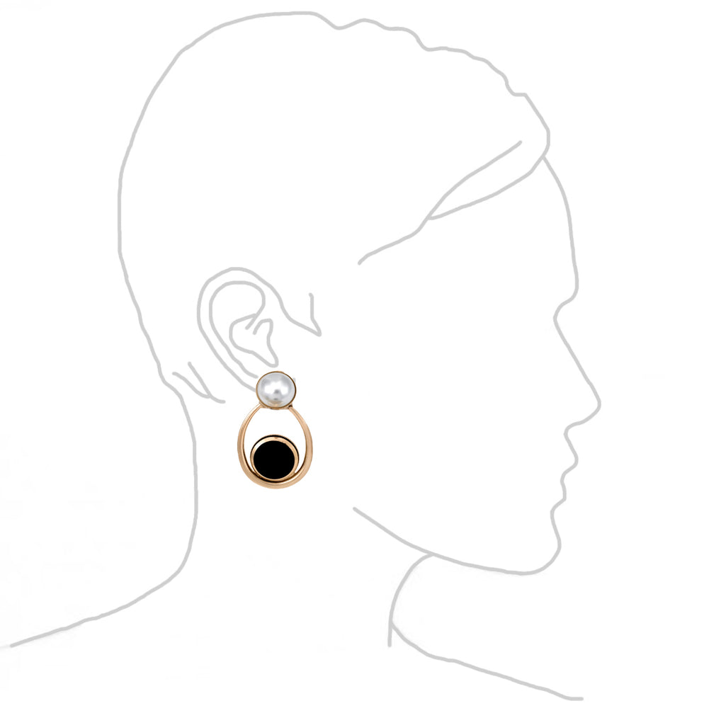 Black Disc Oval Hoop Pearl Earrings