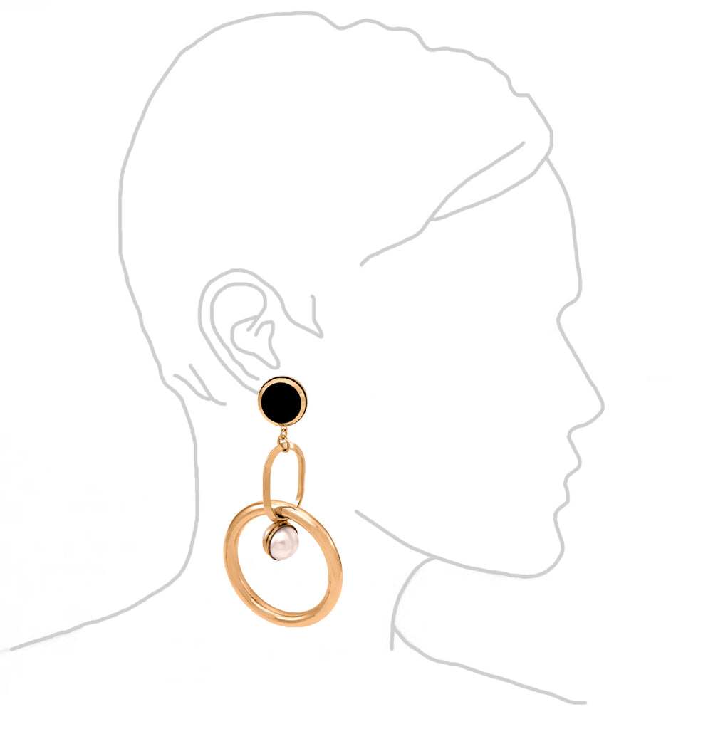 Statement Double Hoop Pearl Earrings