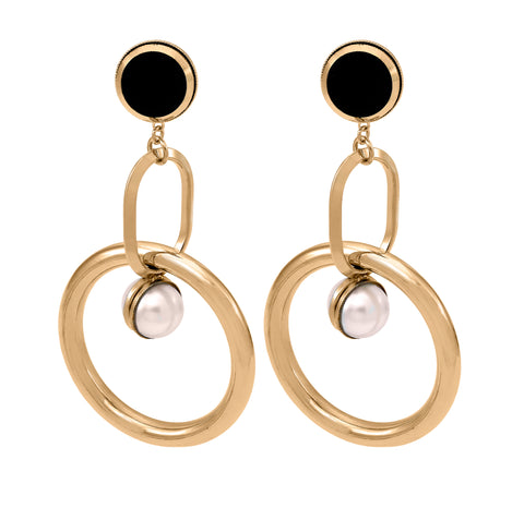 Black Disc & Pearl Hoop Earrings