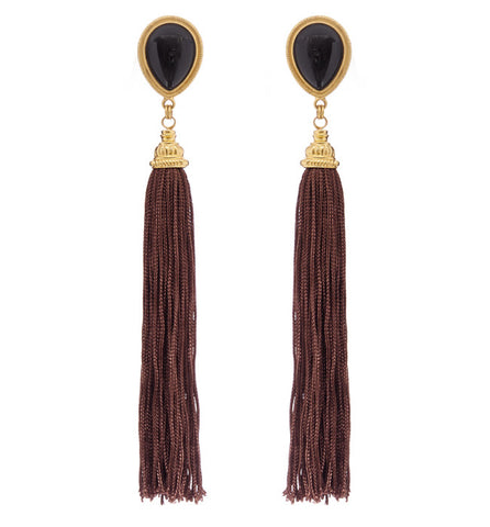 Long Gold Fan Earrings