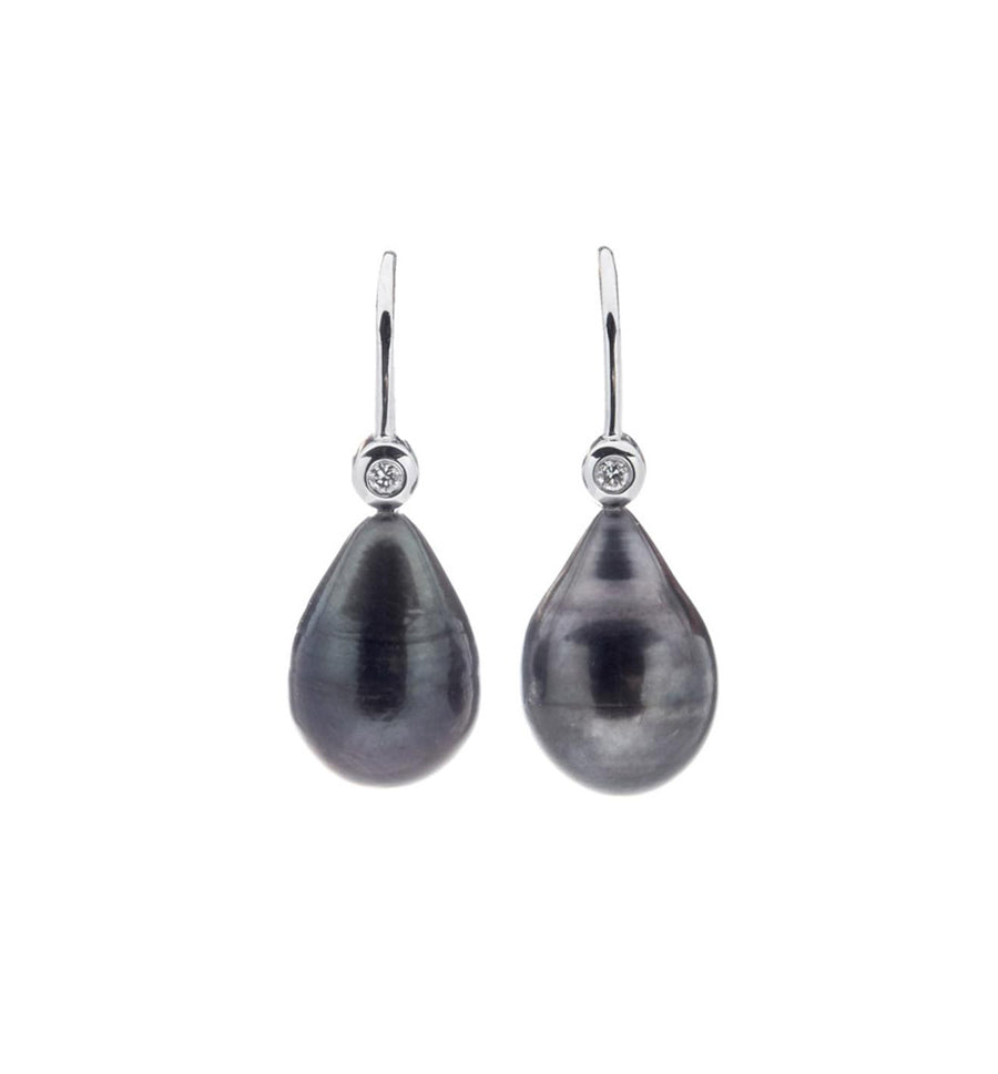 Black Tahitian Pearl Teardrop Earrings - Pierre Winter Fine Jewels
