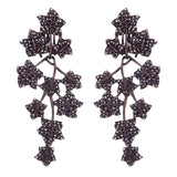 Black Ivy Leaf Drop Earrings