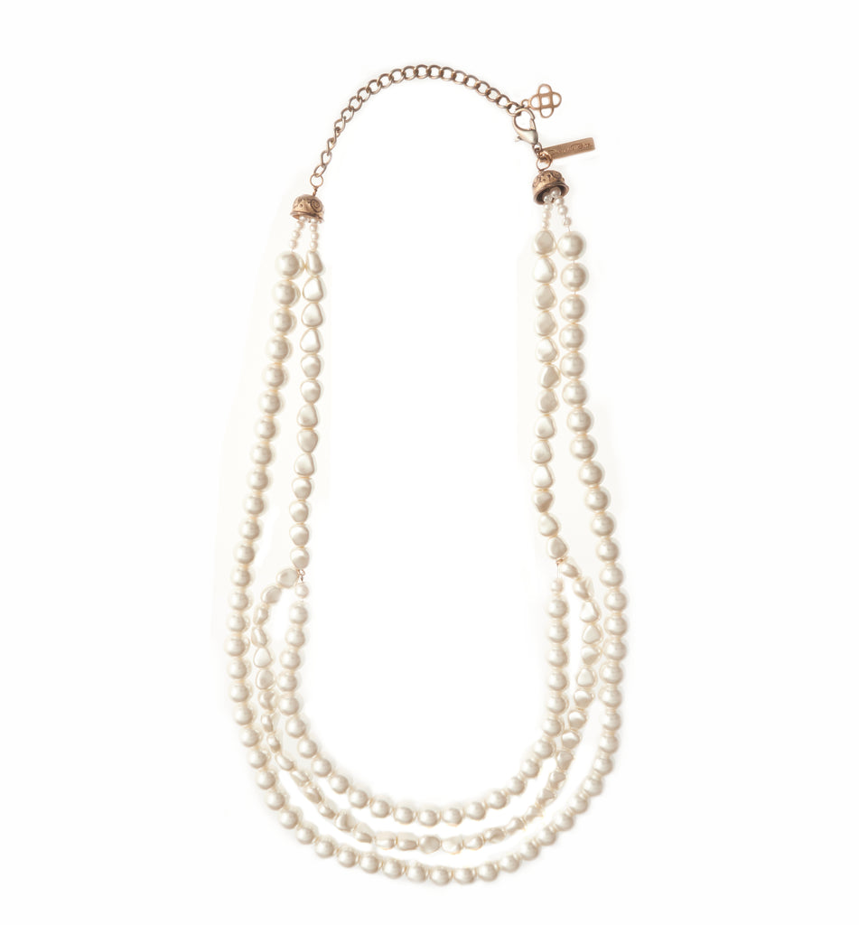 Triple Strand Pearl Necklace ca. 1980