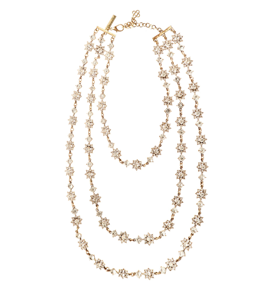 Triple Strand Floral Crystal Necklace