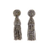 Classic Short Beaded Champagne Tassel Earrings