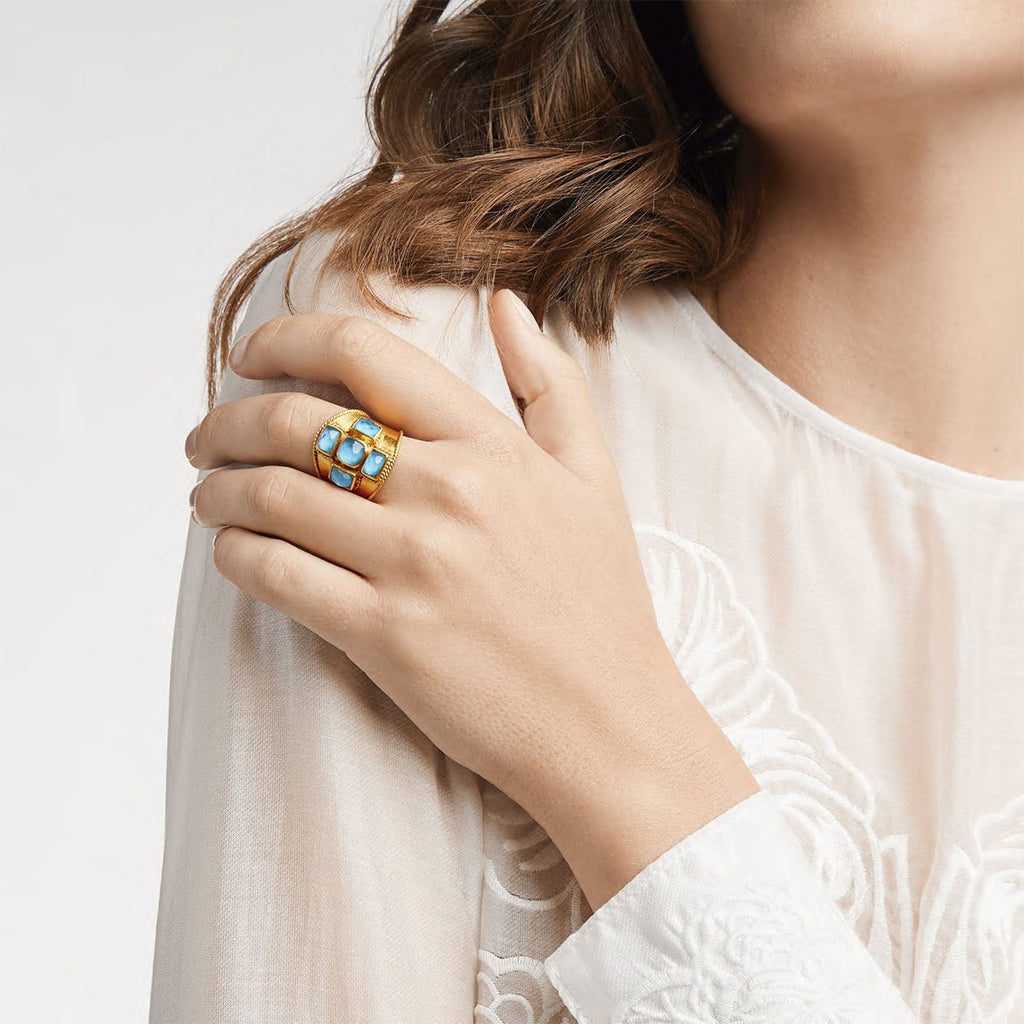 Savoy Iridescent Chalcedony Blue Statement Ring