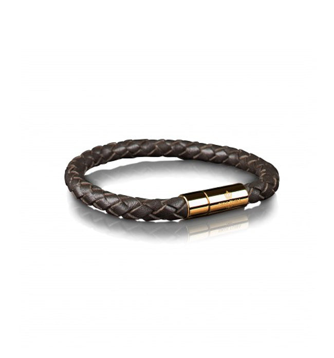 Dark Brown Leather Bracelet Gold clasp | M - Pierre Winter Fine Jewels