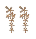 Rose Gold Floral Crystal Earrings