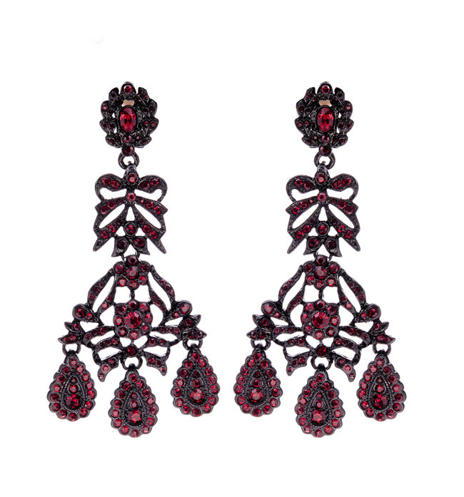 Red Crystal Bow Drop Earrings