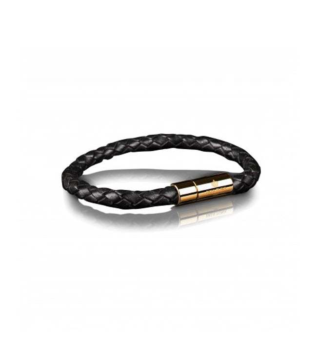 Black Leather Bracelet Gold clasp | L - Pierre Winter Fine Jewels