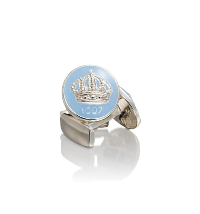 Gustavian Light Blue Crown Cufflinks