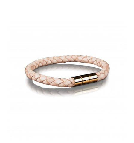 Black Leather Bracelet Gold clasp | L