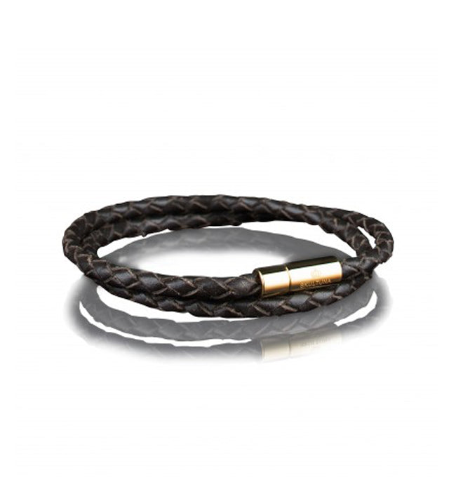 Wrap Dark Brown Leather Bracelet Gold clasp | M