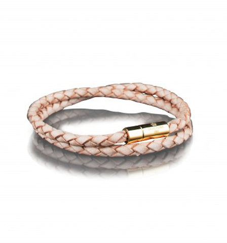 Wrap Natural Leather Bracelet Gold clasp | L