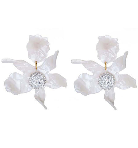 Honey Blush Crystal Lily Flower Earrings