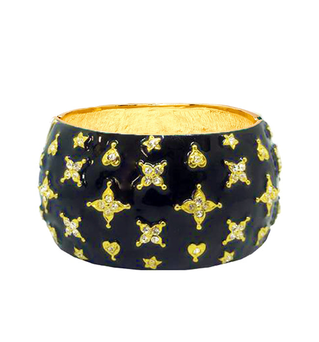 Black Enamel Crystal Star Cuff