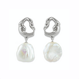 Inês Baroque Pearl Earrings Silver
